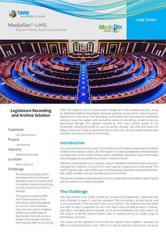 TMD TransMedia Dynamics Case Study: Legislative