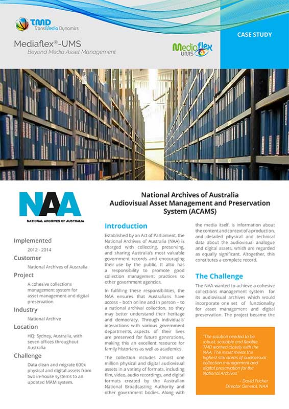 TMD TransMedia Dynamics Case Study: National Archives of Australia