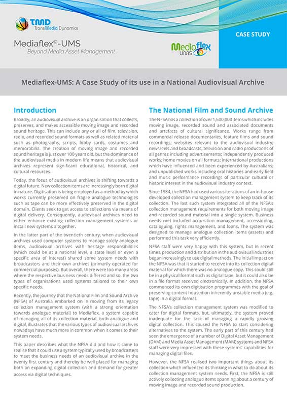 TMD TransMedia Dynamics Case Study: National Film and Sound Archive
